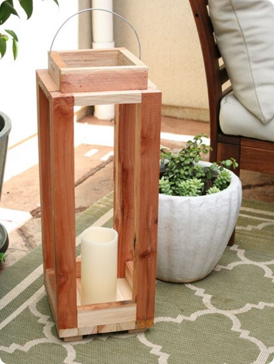 Easy DIY rustic wood lantern