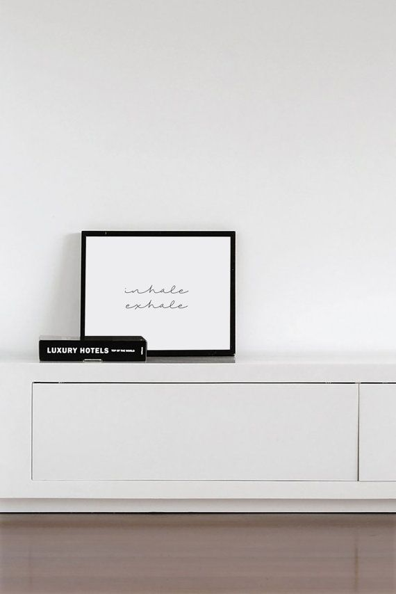 Inhale Exhale - Typography Poster - Black and White Art - Minimal Modern Design - Art & Collectibles - Japanese Art - Zen Art Inspirational