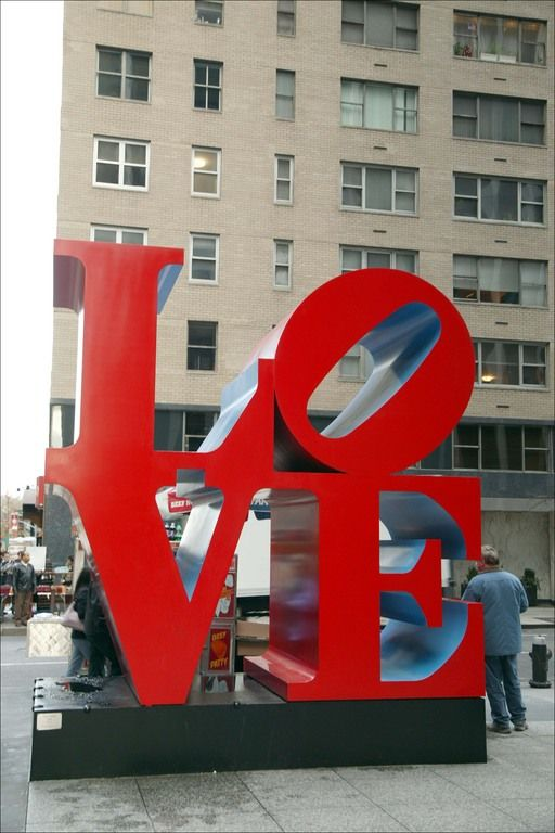 The Love Sculpture in NYC located on 54th and 6th (avenue of americas). Its a MUST I take a picture there when I go back to NY!