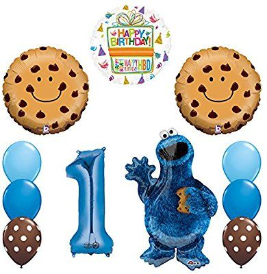 Amazon Mayflower Products NEW Sesame Street Cookie Monsters 1st Birthday Party Supplies And Balloon Decorations Toys Games