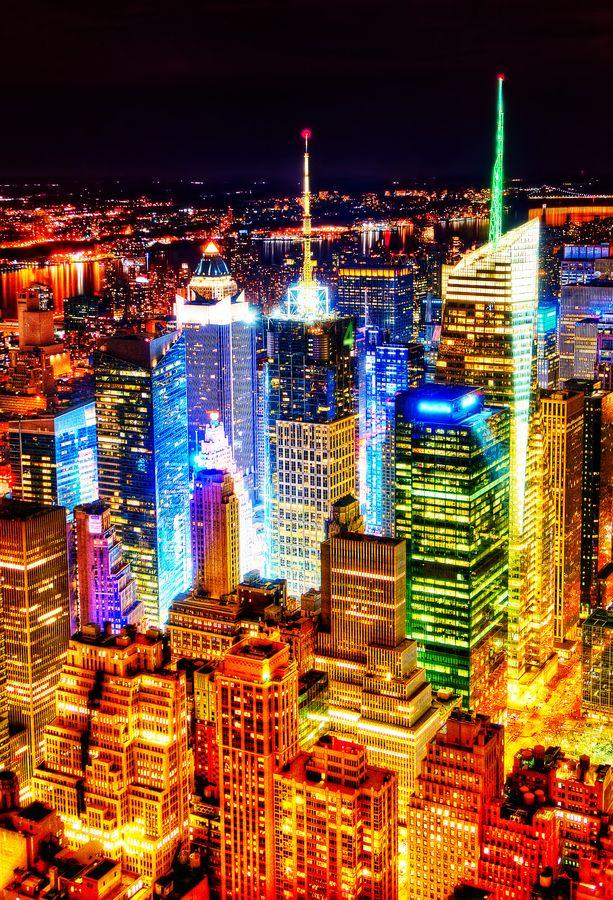 New York City at night by Peicong Liu, via 500px