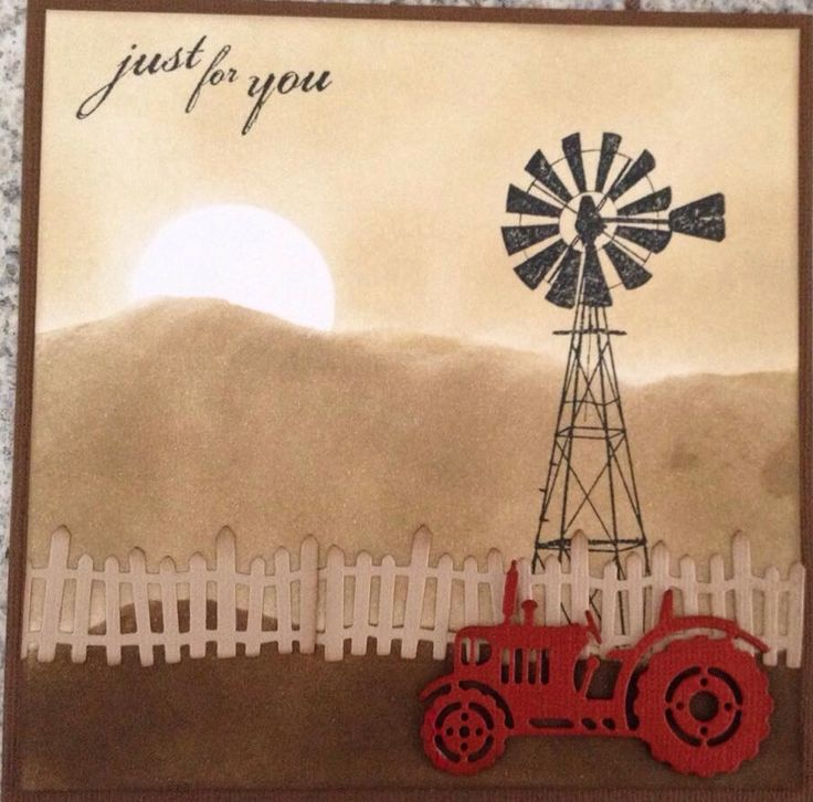 Outback card using antique linen, frayed burlap & walnut distress ink,windmill stamp DDPS023 from Darkroom Door, old farm fence die CCE- 375 & Cottage Cutz tractor die CCE-376