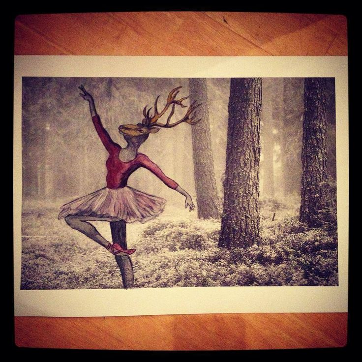 Dancing Deer Diana wearing Tutu in the forest Buy your A3 quality print from my etsyshop. Use link: https://www.etsy.com/no-en/shop/Rampestreken Or visit me at https://www.facebook.com/Rampestreken and order through inbox. Painting, drawing and photgraph by Ragnhild Marie Aston Hoddevik. Feel free to make requests, I also make orders:)   26$