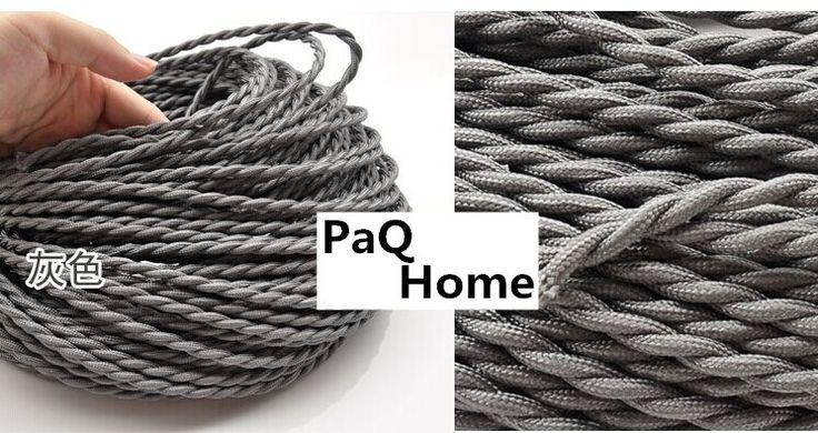 Серый цвет двойной спирали плетение шнура 2 * 0.75 мм медный провод для дома, Бар украсить Электрический провод