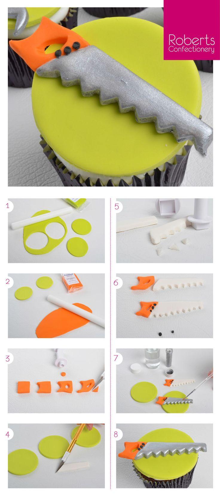 Saw Cupcake Topper using Satin Ice Fondant                                                                                                                                                     More