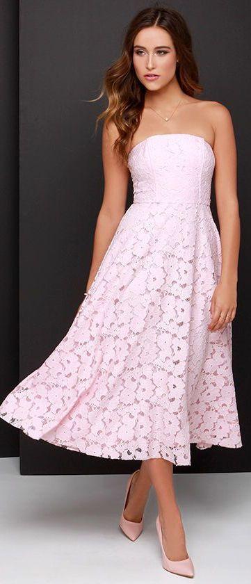 Alva Light Pink Strapless Lace Midi Dress