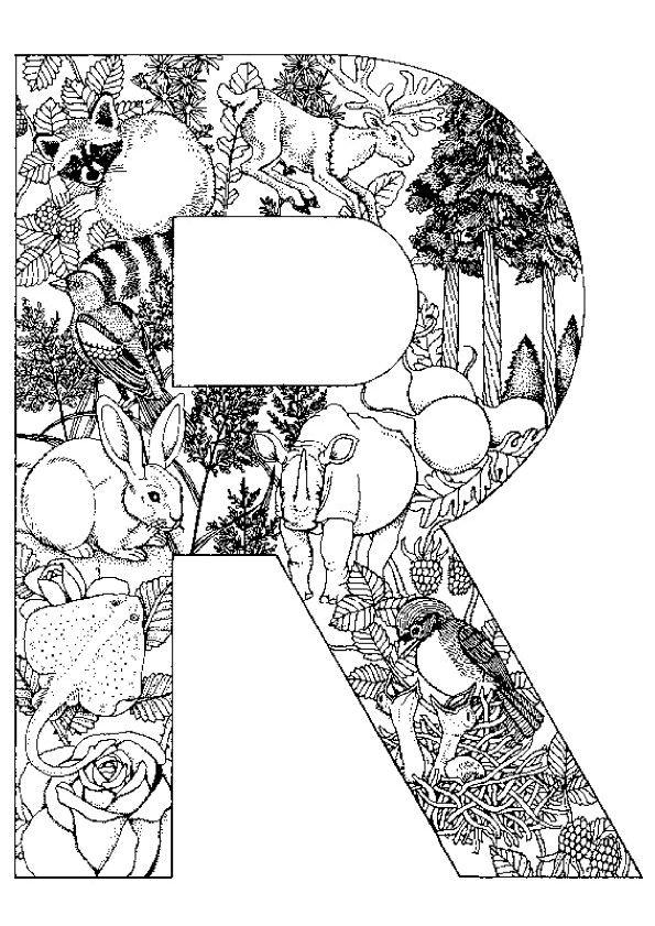 Coloriage pour adultes de la lettre R