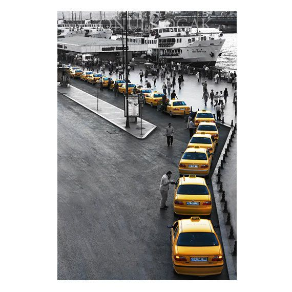 Taxi photography  gray and yellow  decor istanbul by gonulk, $50.00