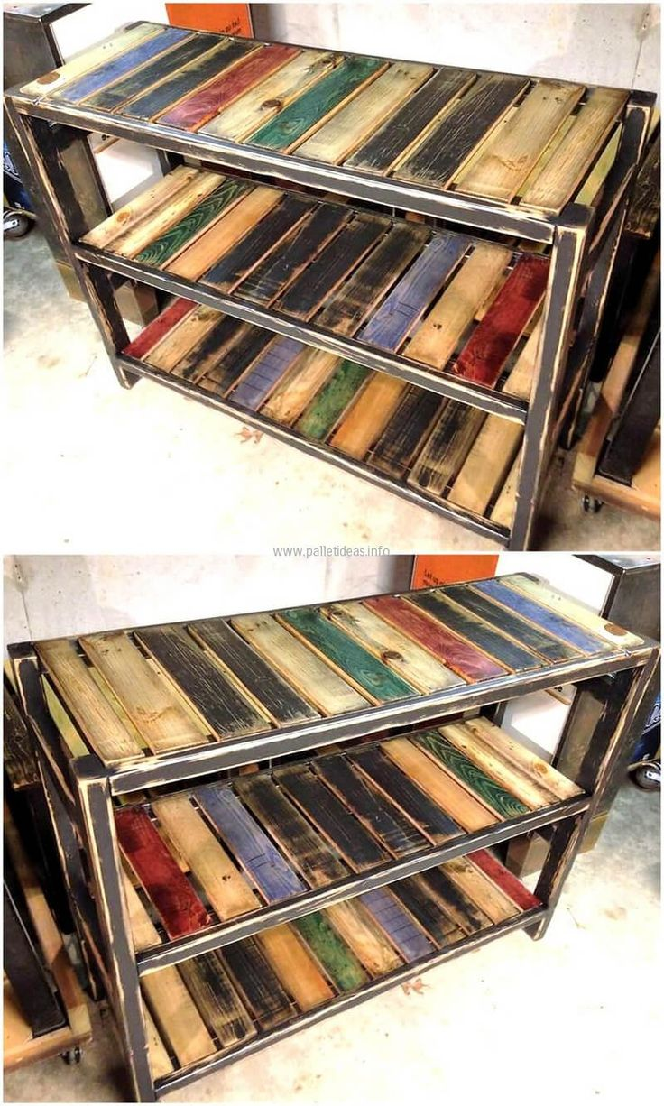 At the beginning of showing the creative reclaimed wood pallet ideas, we would love to show you an idea which is great to be placed in any area of the home. The entryway shelving table can be placed in the kitchen as well.