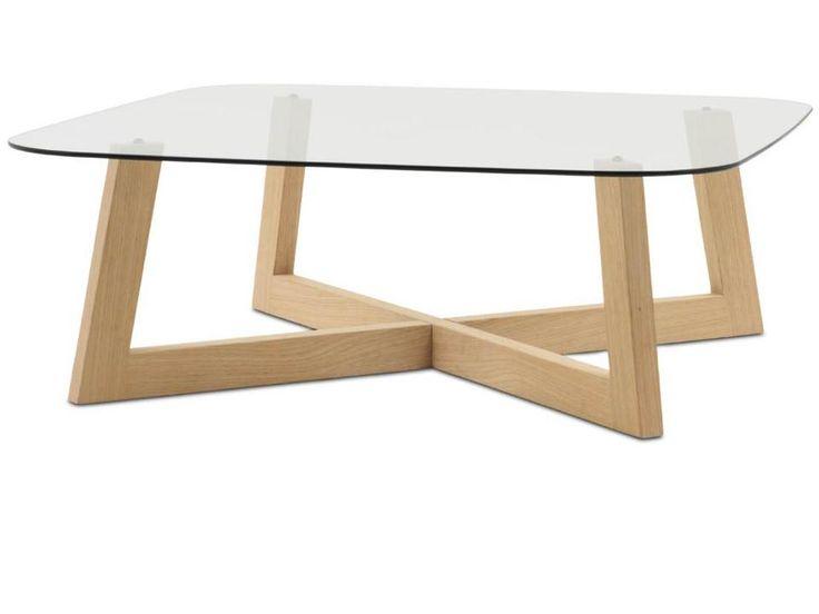 OCCA coffee table , clear glass/oak veneer