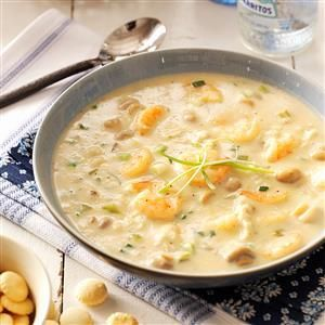 Seafood Bisque Recipe -We live on the Gulf Coast, where fresh seafood is plentiful. I adapted several recipes to come up with this rich bisque. It's great as a first course or an entree, and it can be made with just shrimp or crabmeat. —Pat Edwards Dauphin Island, Alabama