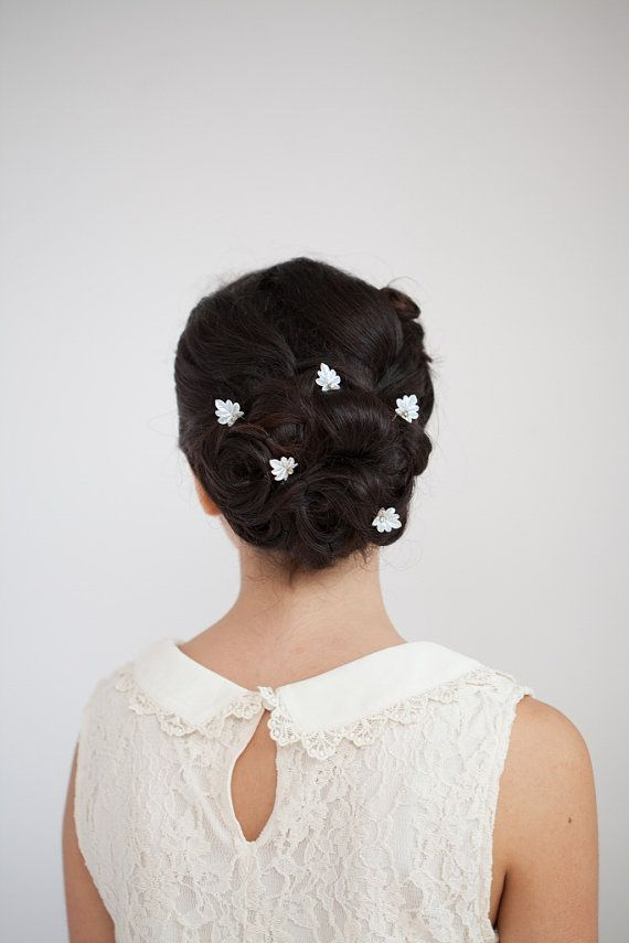 Wedding  hair pins with leaves and crystals, wedding hair accessory, flower girl Accesory, bridesmaids accessory on Etsy, $57.91