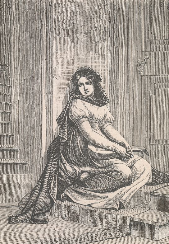 "Illustration of ""Mignon"", a young woman in Johann Wolfgang von Goethe's novel ""Wilhelm Meisters Lehrjahre"" (""Wilhelm Meister's Apprenticeship"") (publ…"