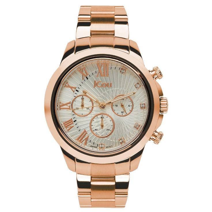 Ρολόι Jcou της σειράς South Coast από ροζ επιχρυσωμένο ανοξείδωτο ατσάλι με ασημι καντράν και ροζ χρυσούς δείκτες και σημεία.  #tasoulis_jewellery #watches #jcou #jcouwatches #fashion #style #women #silver #gold #rosegold