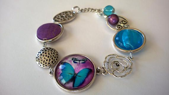 FREE SHIPPING  Asymmetrical bracelet Purple blue bracelet