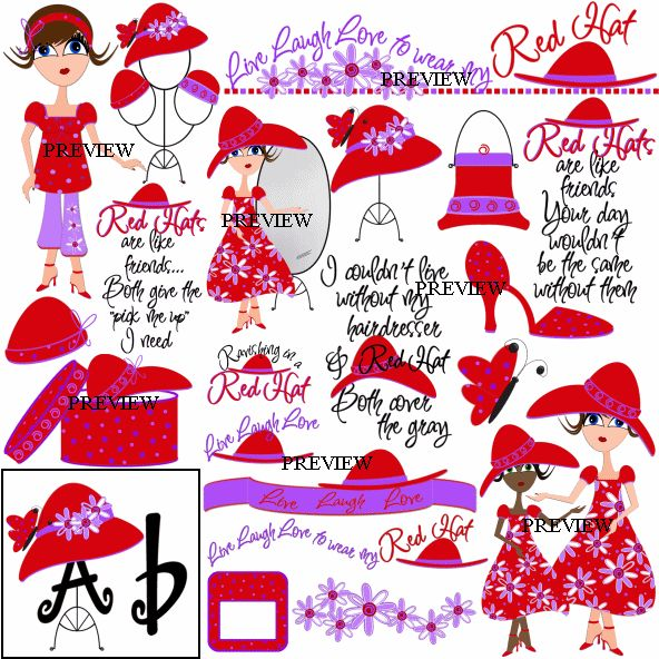 Red Hat Society Clip Art | hat hat attitude red hat wordart high heel shoes red hats polka dot ...
