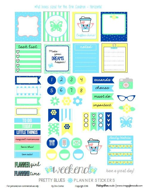 Pretty Blues Planner Stickers | Free pdf planner stickers printable, for personal use only.