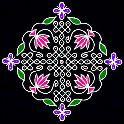 Kolangal: Flower Kolangal 19 - 1 parallel dots (Neer Pulli) Kolam.