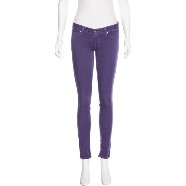 Pre-owned Genetic Denim The Shane Low-Rise Jeans ($50) ❤ liked on Polyvore featuring jeans, purple, 5 pocket skinny jeans, low rise jeans, low rise skinny jeans, 5 pocket jeans and denim skinny jeans