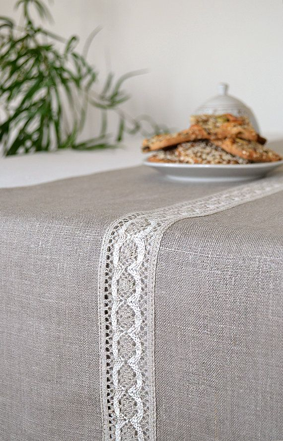 Table Runner Natural Linen Runners Lace Table Runner Gray Linen Table  Runners Gray / White Tabletop Decor