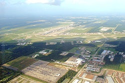George Bush Intercontinental Airport,  is a –45 and U.S. Highway 59. Our house in Houston was in the direct path of the landing strip.