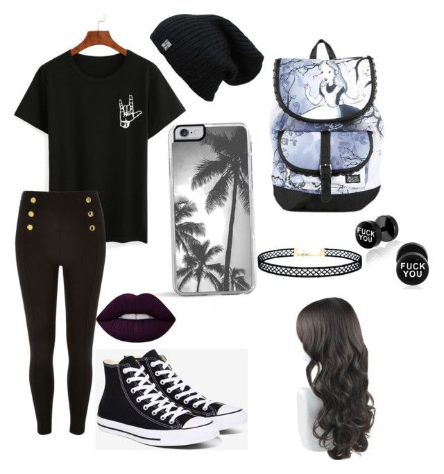 """""""dark&emo"""" by riehleysivan on Polyvore featuring Converse, Disney, Zero Gravity, LULUS and Lime Crime"""