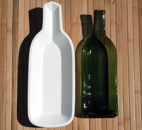 Stoneware single condiment wine bottle slumping mold