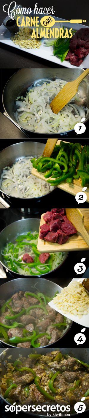Haz una deliciosa carne con almendras al estilo oriental con este súper secreto.