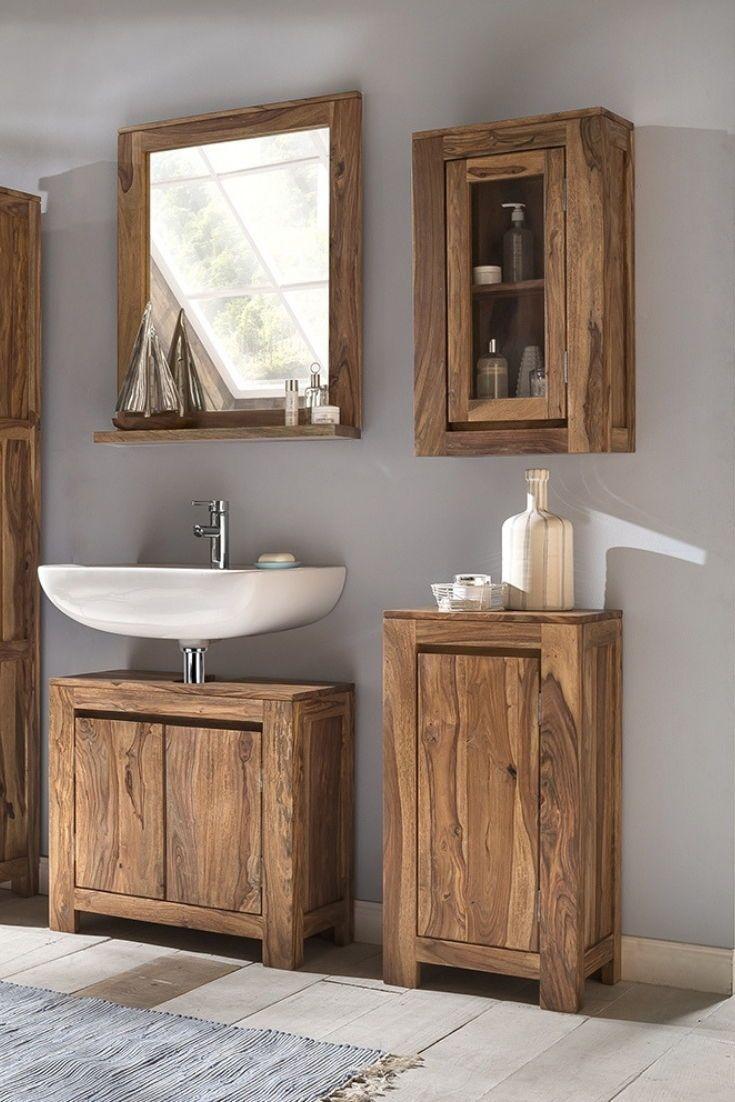 Palisander Badezimmerschrank Leeston Holz Rustikal Bad