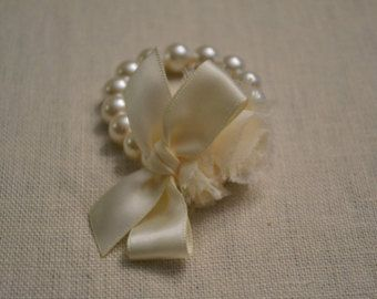 Grace: Ivory Pearl Corsage/Bracelet with Ivory Ribbon and Ivory/Cream Flower - Little Girls or Adult