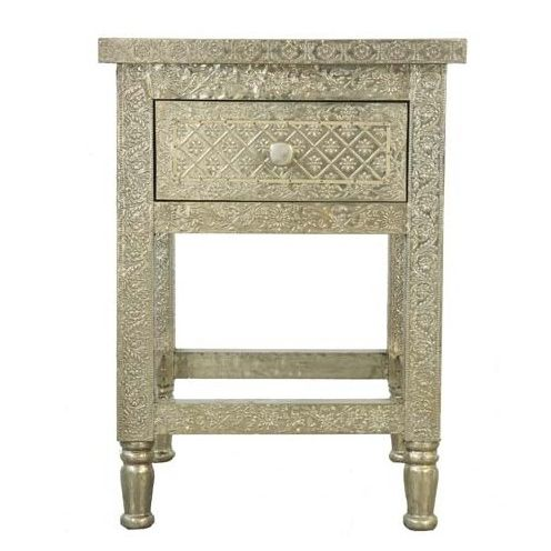 White Metal Embossed Bedside Table   A Luxurious Addition To Any Bedroom,  This White Metal