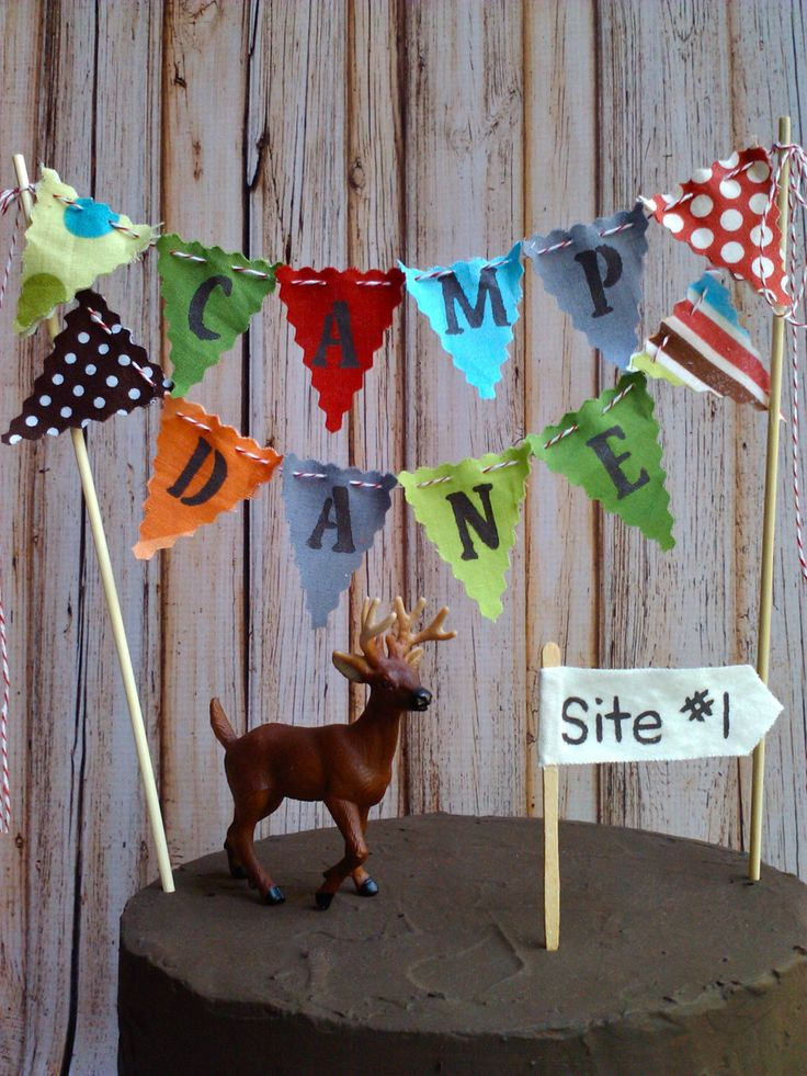 Cake Bunting Camping theme cake topper fabric flags sewn with Bakers Twine Woodland theme by BooBahBlue on Etsy https://www.etsy.com/listing/223784972/cake-bunting-camping-theme-cake-topper