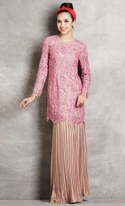 Embroidered Lace Kurung with Pleated Skirt in Pink