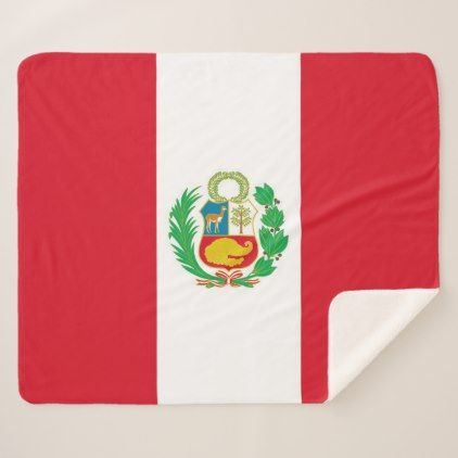 Patriotic Sherpa Blanket with Peru flag - stylish gifts unique cool diy customize