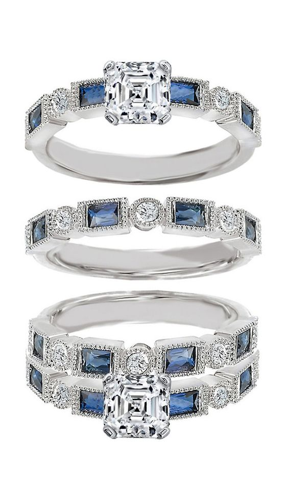 Diamond Engagement Ring Blue Sapphire Accents & Matching Wedding Ring