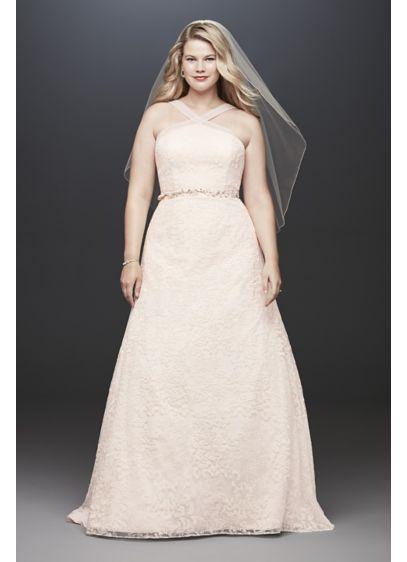 106981ac6f7 Embroidered Y-Neck Lace Plus Size Wedding Dress 4XL9WG3928