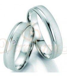 Βέρες γάμου λευκόχρυσες με διαμάντι breuning 7019-7020