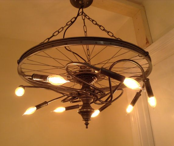 Hanging galaxy industrial ceiling light made from repurposed bike tire rim wheel rim 4 bulbs