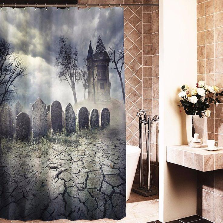 Halloween Friedhof, Halloween Spukhäuser, Halloween Kostüme, Duschvorhang  Stangen, Badezimmer Duschvorhänge, Badezimmer Duschen, Duschkabinen, ...