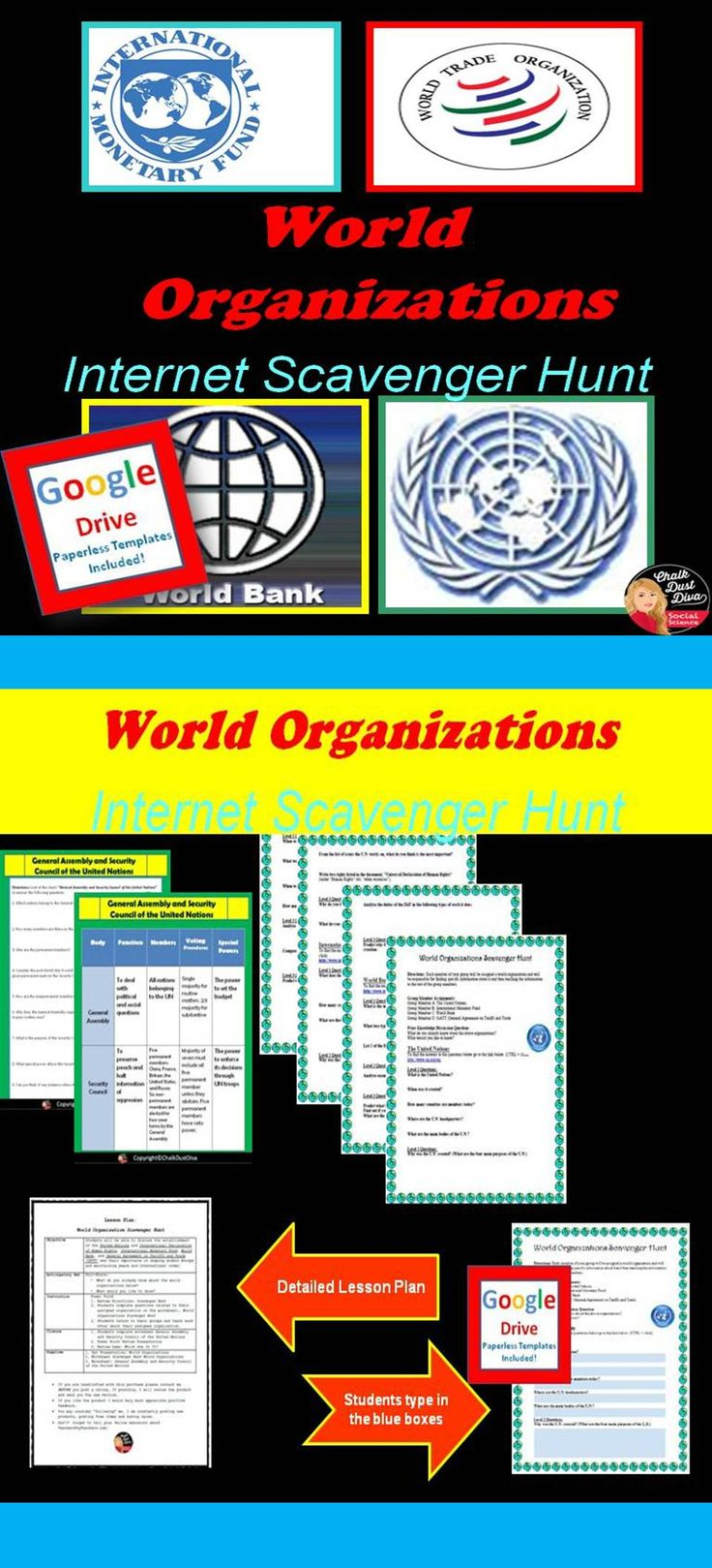 For the activity students will be assigned one of the World Organizations to research (websites are listed) and will have to teach their group members about their organization. Google Docs included! Pin it!