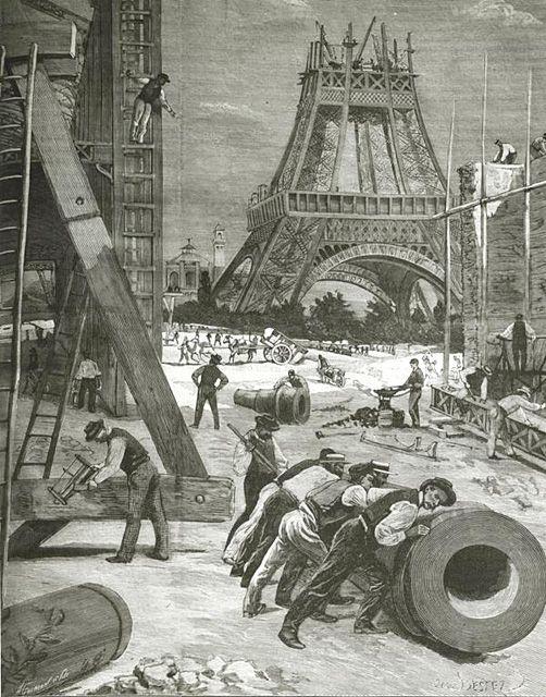 During the building of the Tour 1989 La tour Eiffel en voie de construction pour l'Exposition de Paris de 1889. Photographie d'une gravure. BAnQ, Centre d'archives de Montréal Fonds Armour Landry Armour Landry, 1962 P97