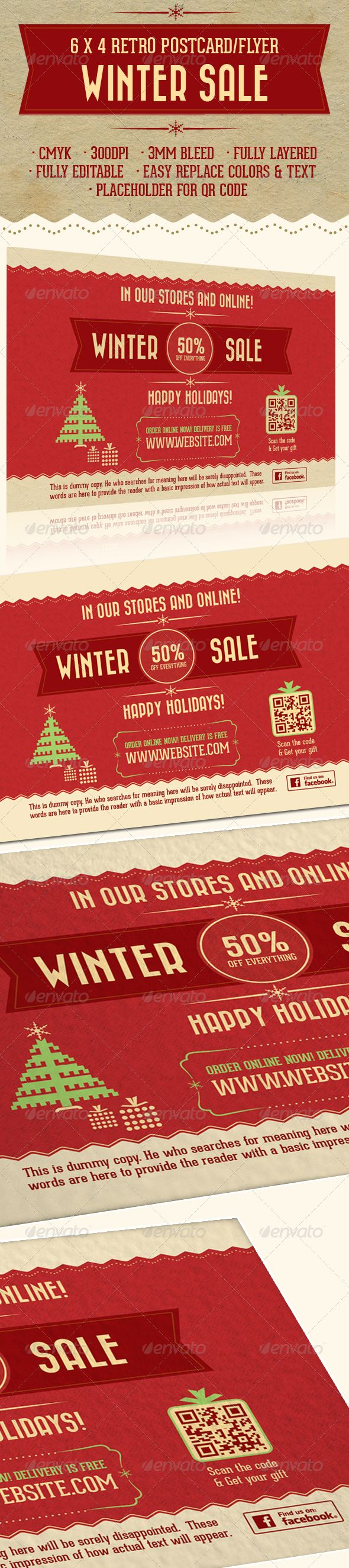 6X4 Retro Holiday Sale Postcard/Flyer — Photoshop PSD #vintage #christmas tree •…