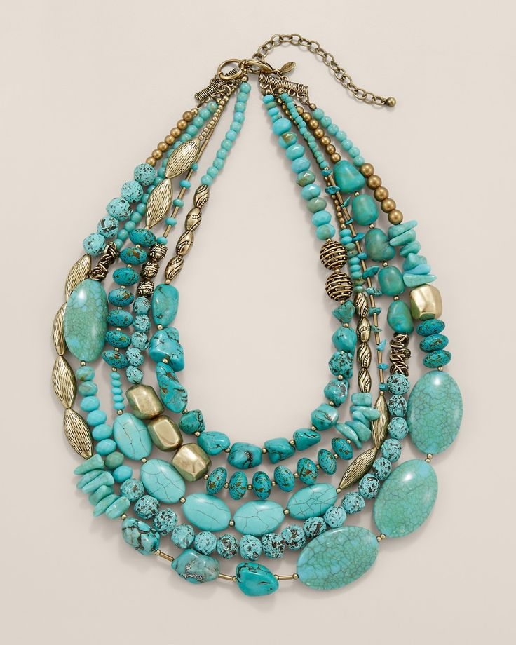 A statement necklace designed with turquoise-toned stones