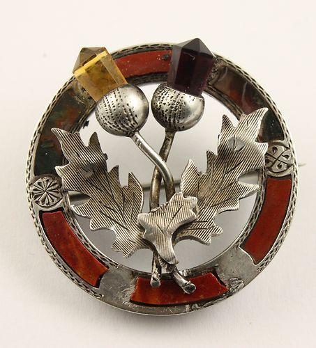 1901 Victorian silver Scottish agate pebble brooch