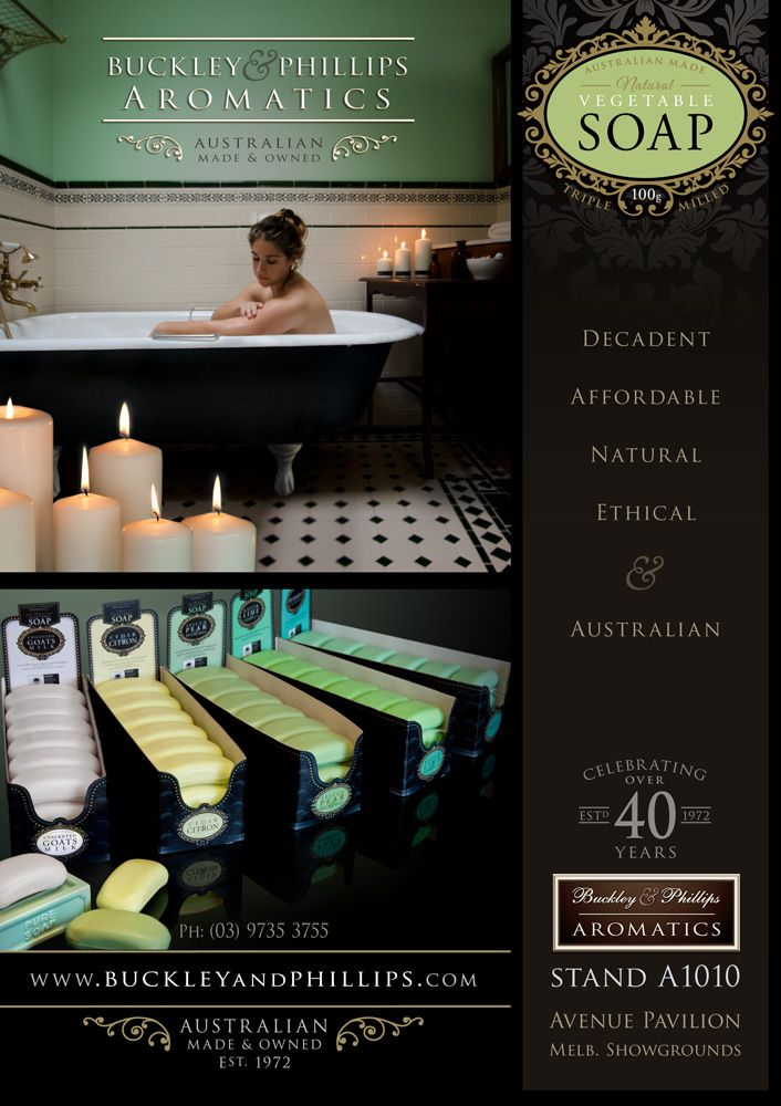 Natural Vegetable soap - Full page advert in the Home & Giving Fair magazine. Melb Aug 2014