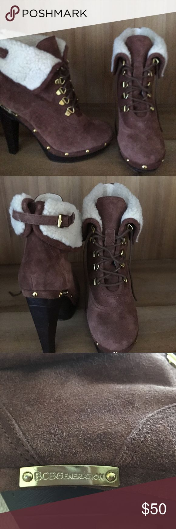 bcbgeneration faux fur ankle boots Tan suede and faux fur ankle boots. BCBGeneration Shoes Ankle Boots & Booties