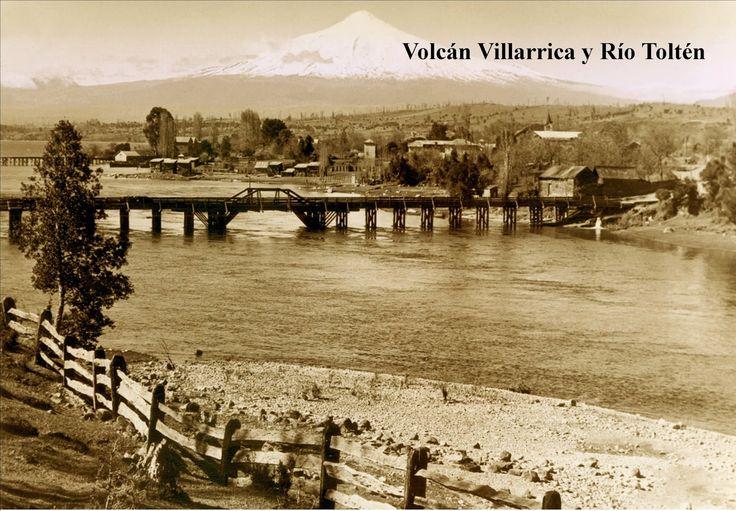 Volcán Villarrica y puente sobre río Toltén