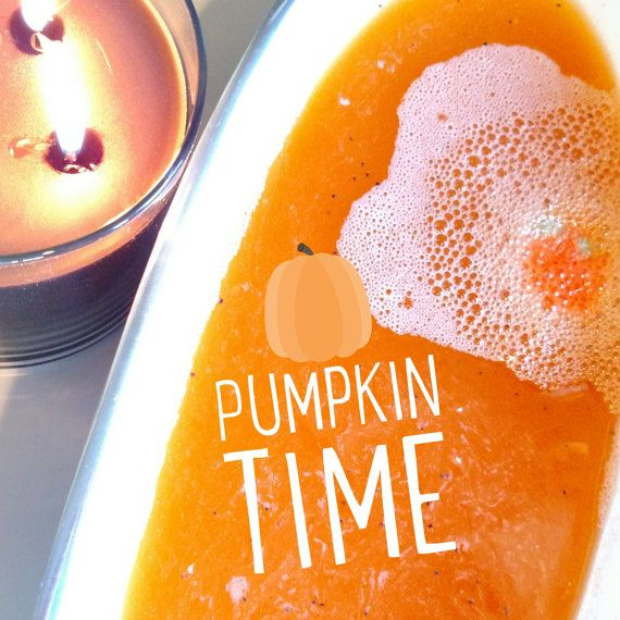 Autumn Bath Bomb. Fall Gift. PUMPKIN CHUNKIN by SunbasilgardenSoap