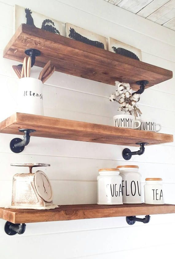 I just love these floating cedar shelves