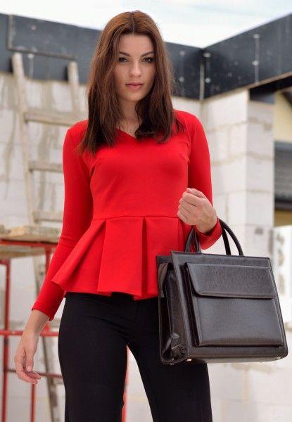 Bluzka z baskinką Czerwona
